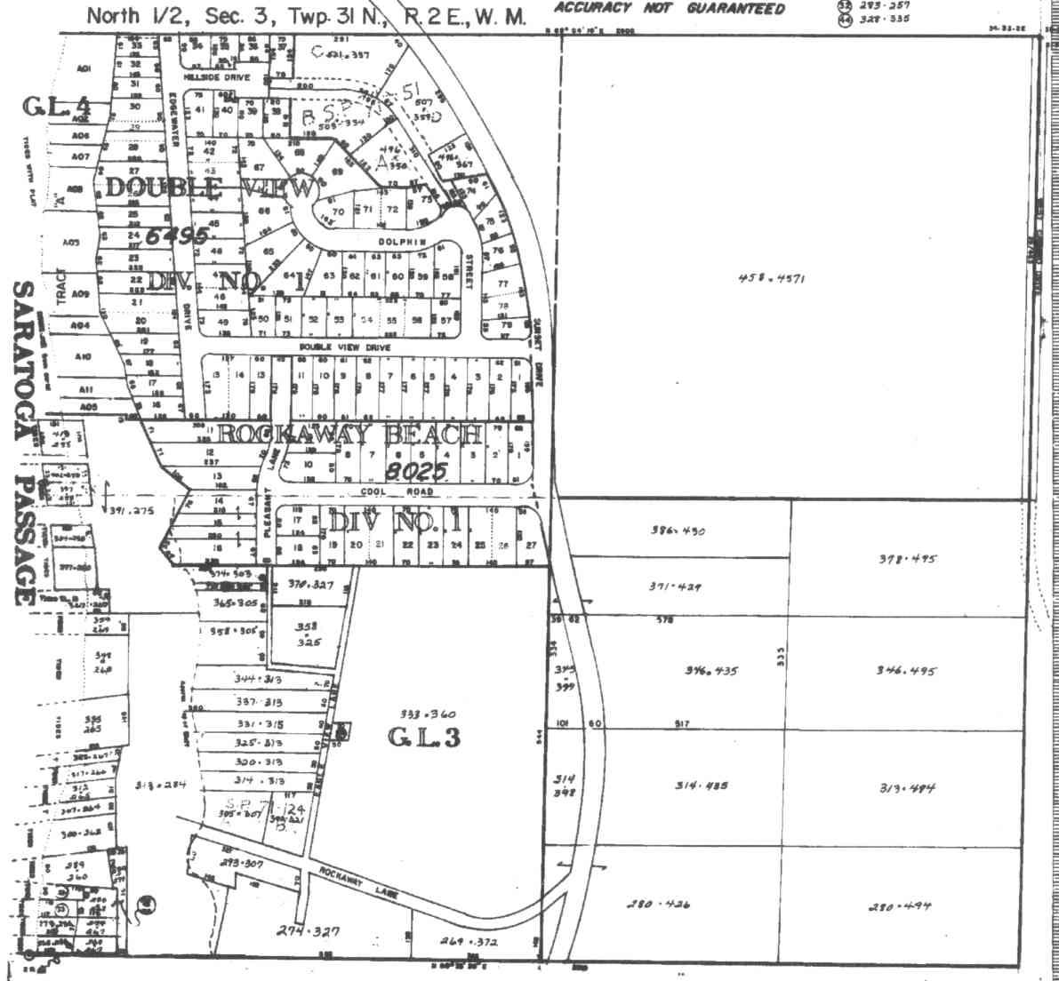 Camano Rockaway Beach area, large survey maps, wells, and