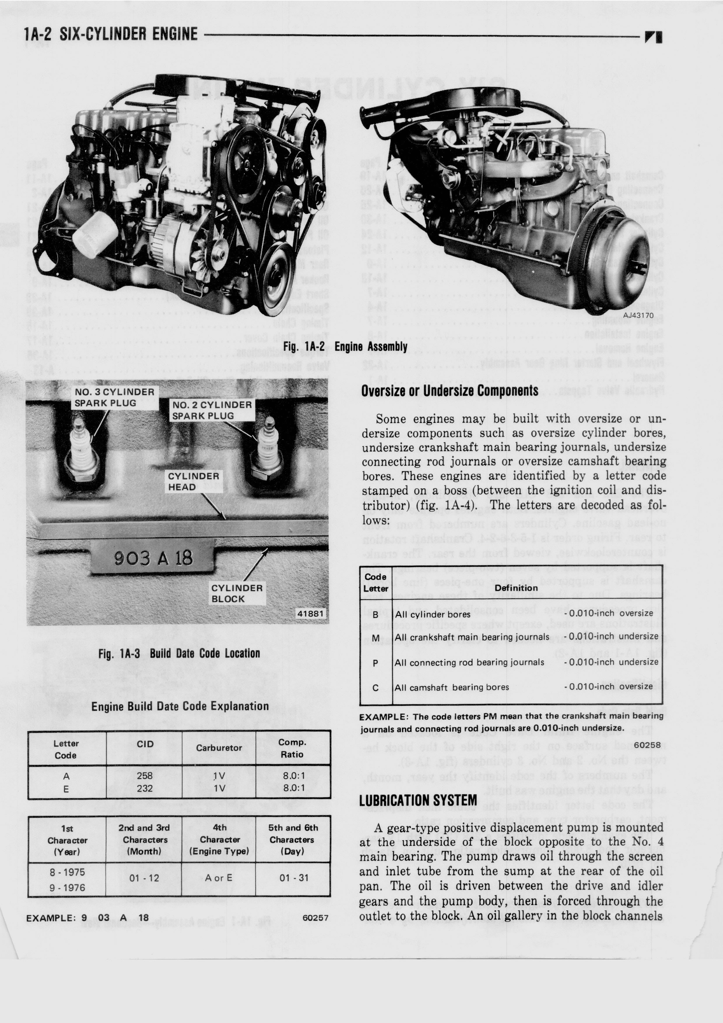 1A Six Cylinder Engine / 1976 AMC Technical Service Manual