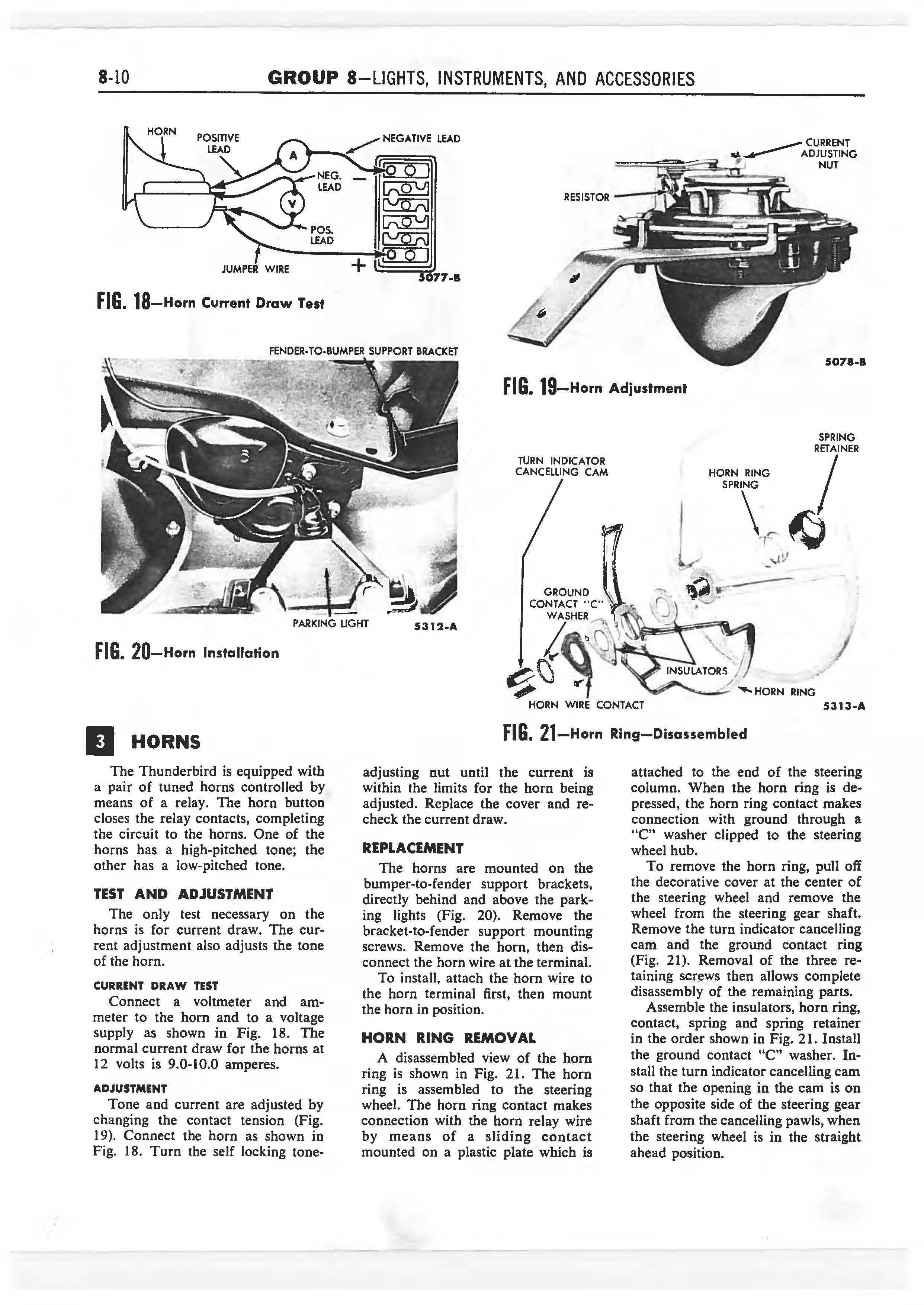 1958 Ford Thunderbird Shop Manual page 275 of 360
