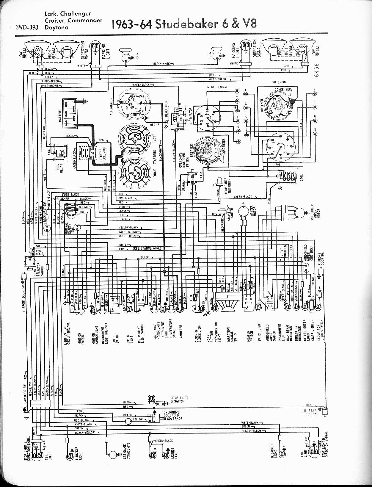 hight resolution of studebaker wiring diagrams the old car manual project 1963 64 6 cyl v8 lark