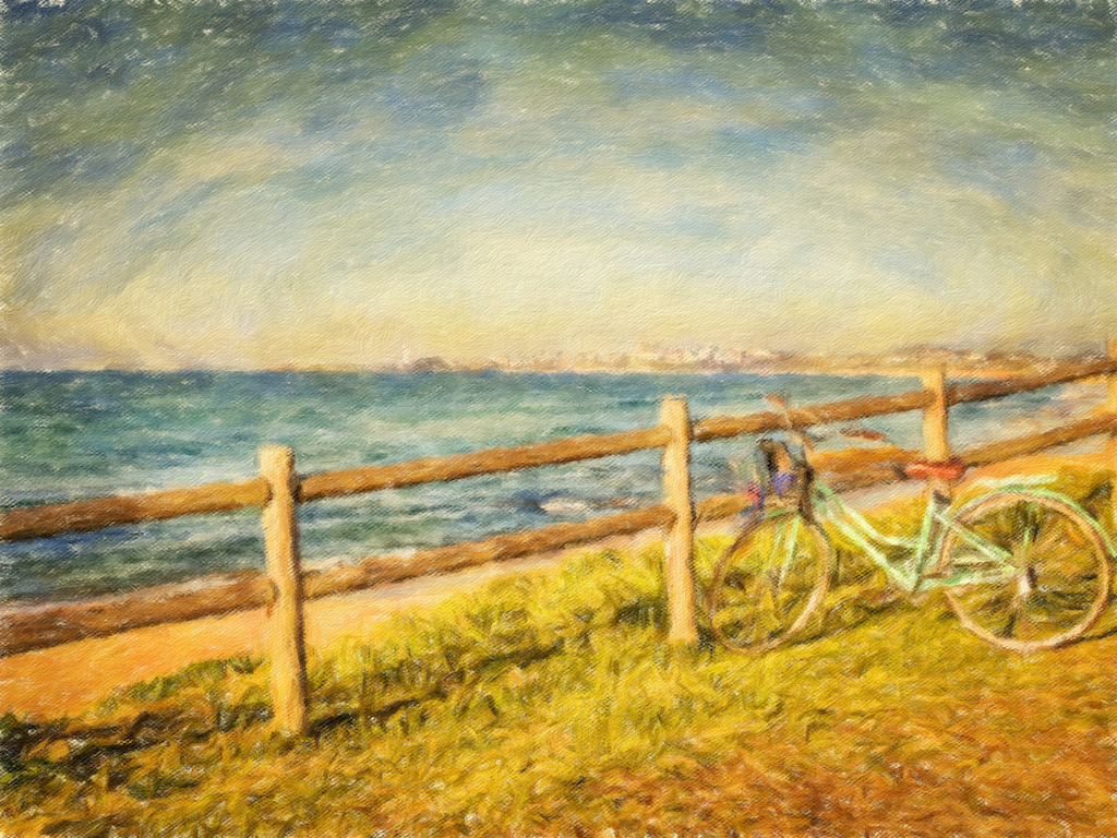 A faux-watercolour of a bike against a fence. The ocean is in the background.