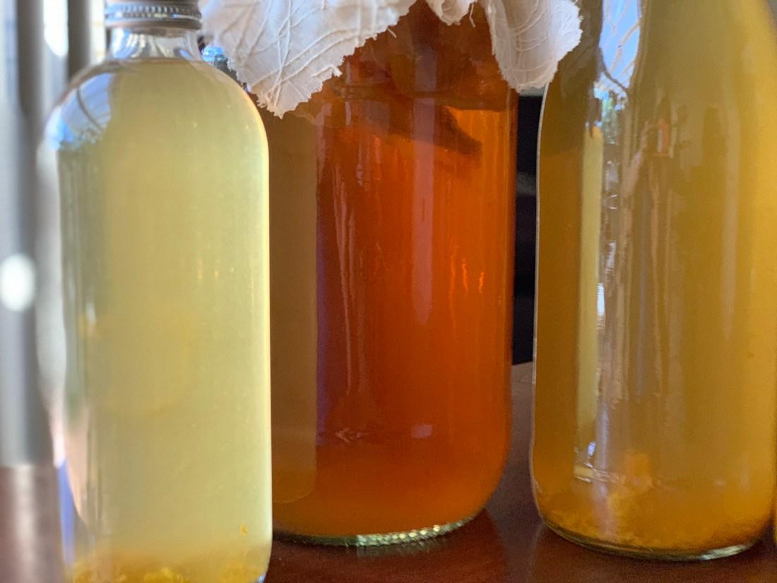 three bottles of kombucha