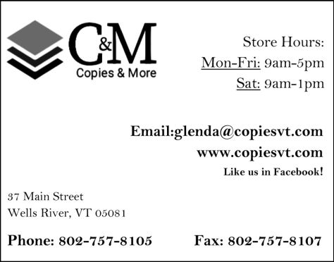 Ad image for Copies & More on 37 Main Street in Wells River, VT 05081