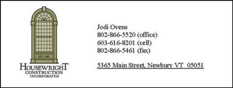 Ad image for Jodi Ovens at Housewright Construction Incorporated on 5365 Main Street in Newbury, VT 05051