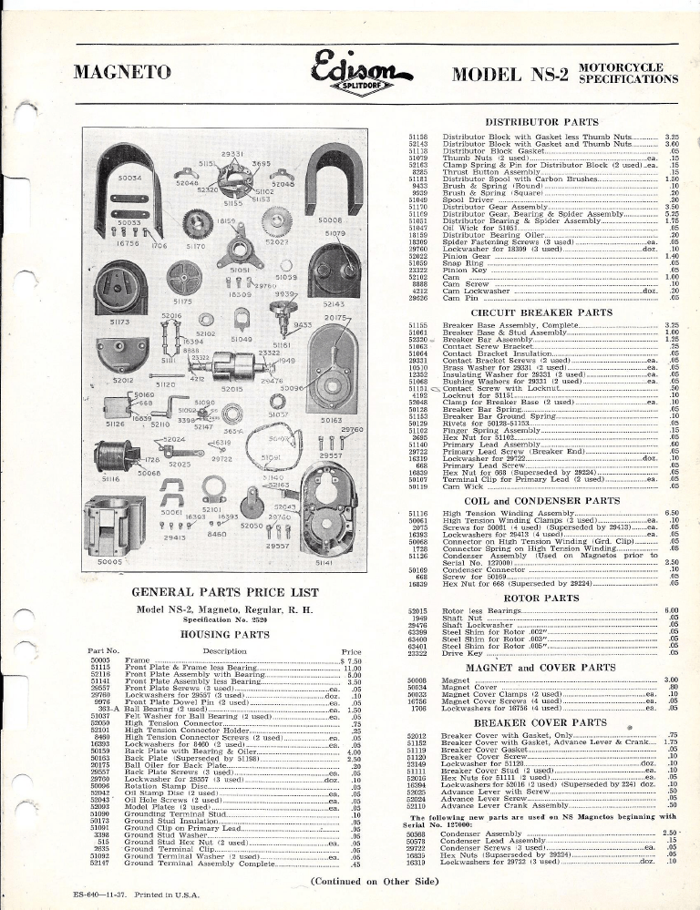Edison Splitdorf NS-2 Magneto Parts List