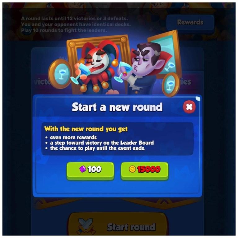 Screenshot of Mirror Match buy-in screen
