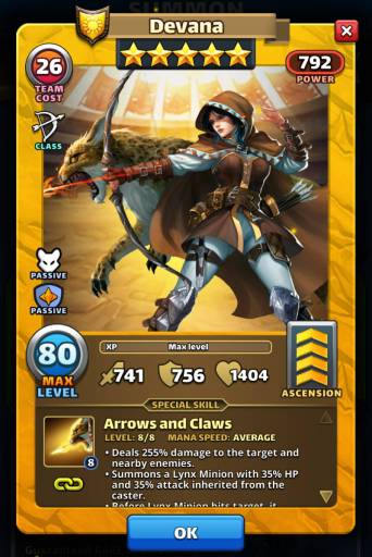 Screenshot of Devana's Card with Special Skills from the mobile game, Empires and Puzzles