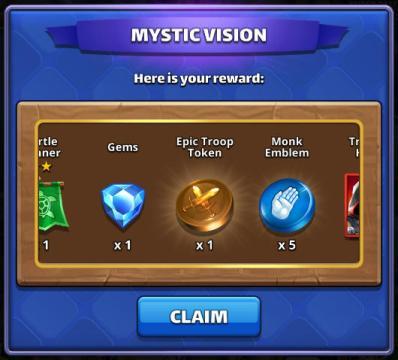 Screenshot of a Mystic Vision rewarding Monk Emblems