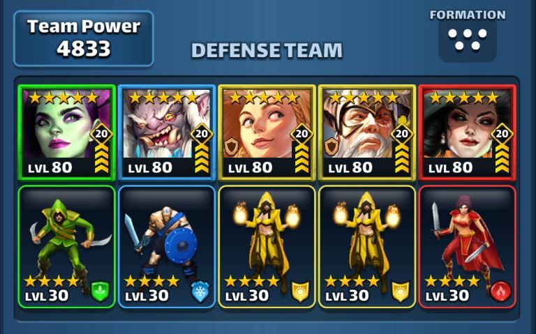 Example of Empires and Puzzles Sif and Odin defence team