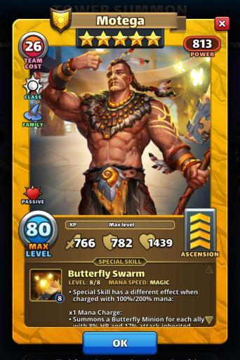 Screenshot of Motega Hero Card from Empires and Puzzles