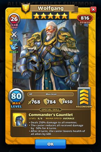 Screenshot of Wolfgang Hero Card from Empires and Puzzles