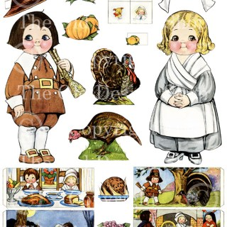 Dolly Dingle Gives a Thanksgiving Dinner Paperdoll Digital Collage Sheet