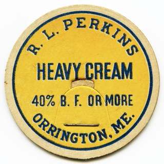 R. L. Perkins Milk Bottle Cap Dairy Cream