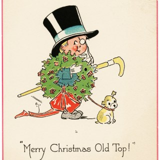 Merry Christmas Old Top Vintage Card