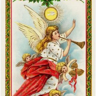 Christmas Angels Vintage Postcard