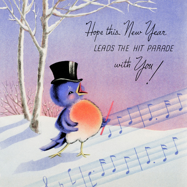Happy Singing Bird Vintage New Year Card Old Design Shop