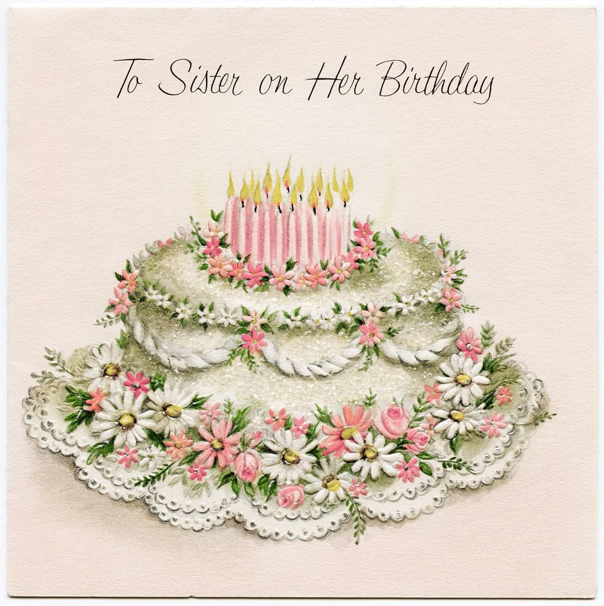 Birthday Love Greeting Cards: Vintage Sister Birthday Greeting Card