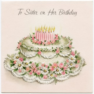 Vintage Sister Birthday Greeting Card