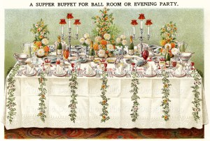 Mrs Beeton table setting for supper buffet or evening party