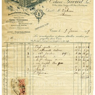 Octave Lecourt Vintage French Invoice
