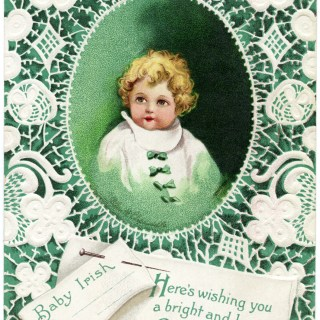 Irish Baby on Green and Lace Clapsaddle