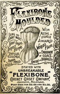 free vintage image, victorian corset magazine ad, corset illustration advertisement, victorian fashion, flexibone corset, old magazine ad, free vintage ephemera, free printable, antique clipart, copyright free vintage images, free victorian clipart, free digital graphic, grunge advertisement