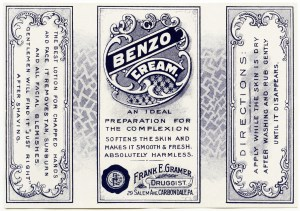 Frank Gramer druggist, benzo cream, free printable label, vintage beauty label graphic, vintage clipart label