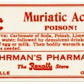 free vintage image, poison label, muriatic acid, fuhrman's pharmacy, red white poison label, antique label