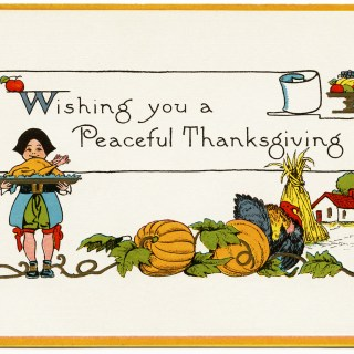 A Peaceful Thanksgiving Vintage Postcard