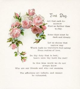 vintage floral clip art pink roses first day poem