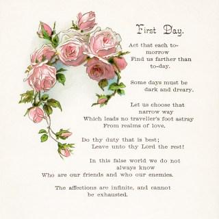 Free Vintage Clip Art Pink Roses and Poem