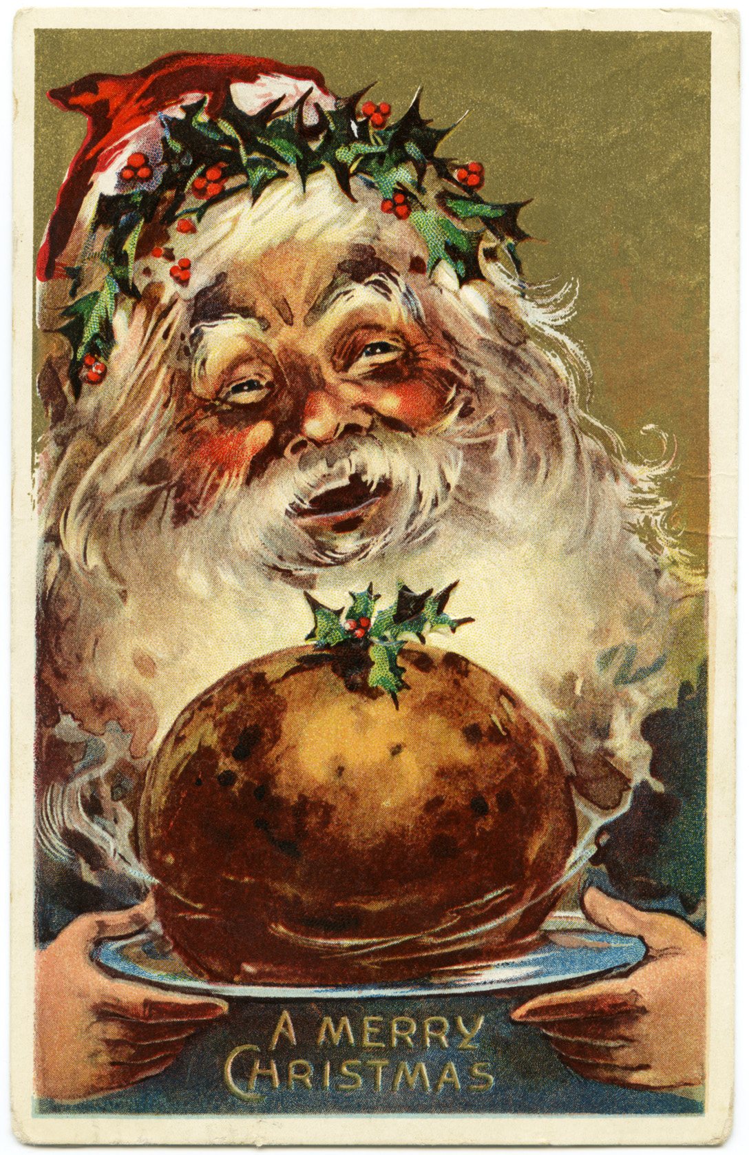 Free Vintage Image Jolly Santa Postcard Old Design