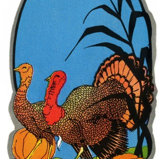Vintage Turkeys and Pumpkins Clip Art