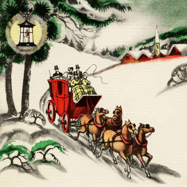 Horse Drawn Carriage Christmas Card Old Design Shop Blog