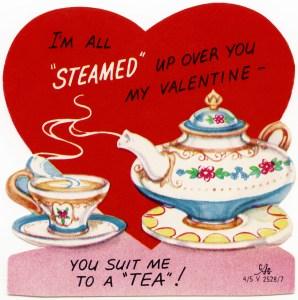 free vintage valentine graphic, retro tea valentine, you suit me to a tea, clipart valentine, public domain valentine