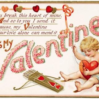 Cupid Stitching Heart ~ Free Valentine Image