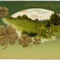 vintage st patricks greeting, antique postcard, st patrick postcard, sheep castle, shamrock, four leaf clover