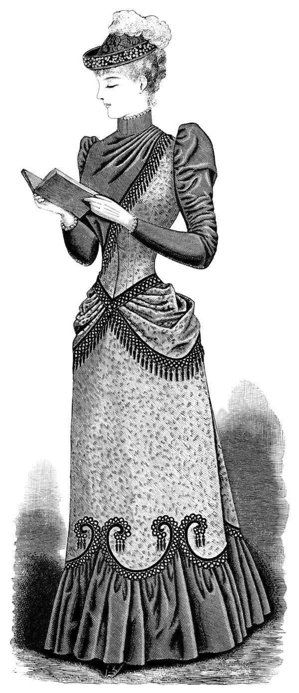 victorian lady reading - design