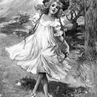 Free Vintage Image ~ Carefree Girl Skipping Along Path