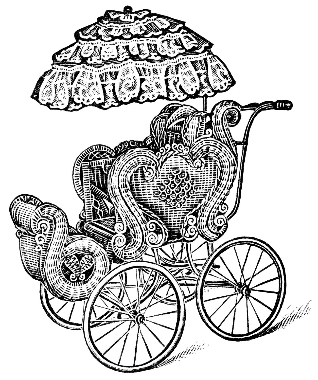 Vintage Baby Carriage Clip Art