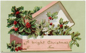 vintage Christmas postcard,  old fashioned christmas card, box of holly and berry, antique holiday image, pink and green christmas graphic