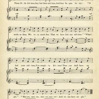 Free Vintage Image ~ Three Little Kittens Sheet Music