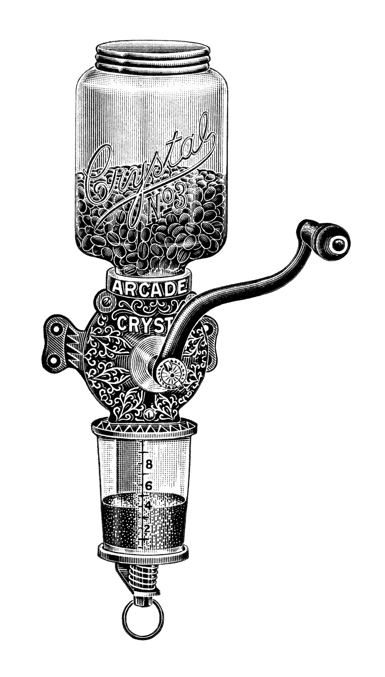 Arcade Crystal Coffee Grinder Ad And Clip Art Old Design