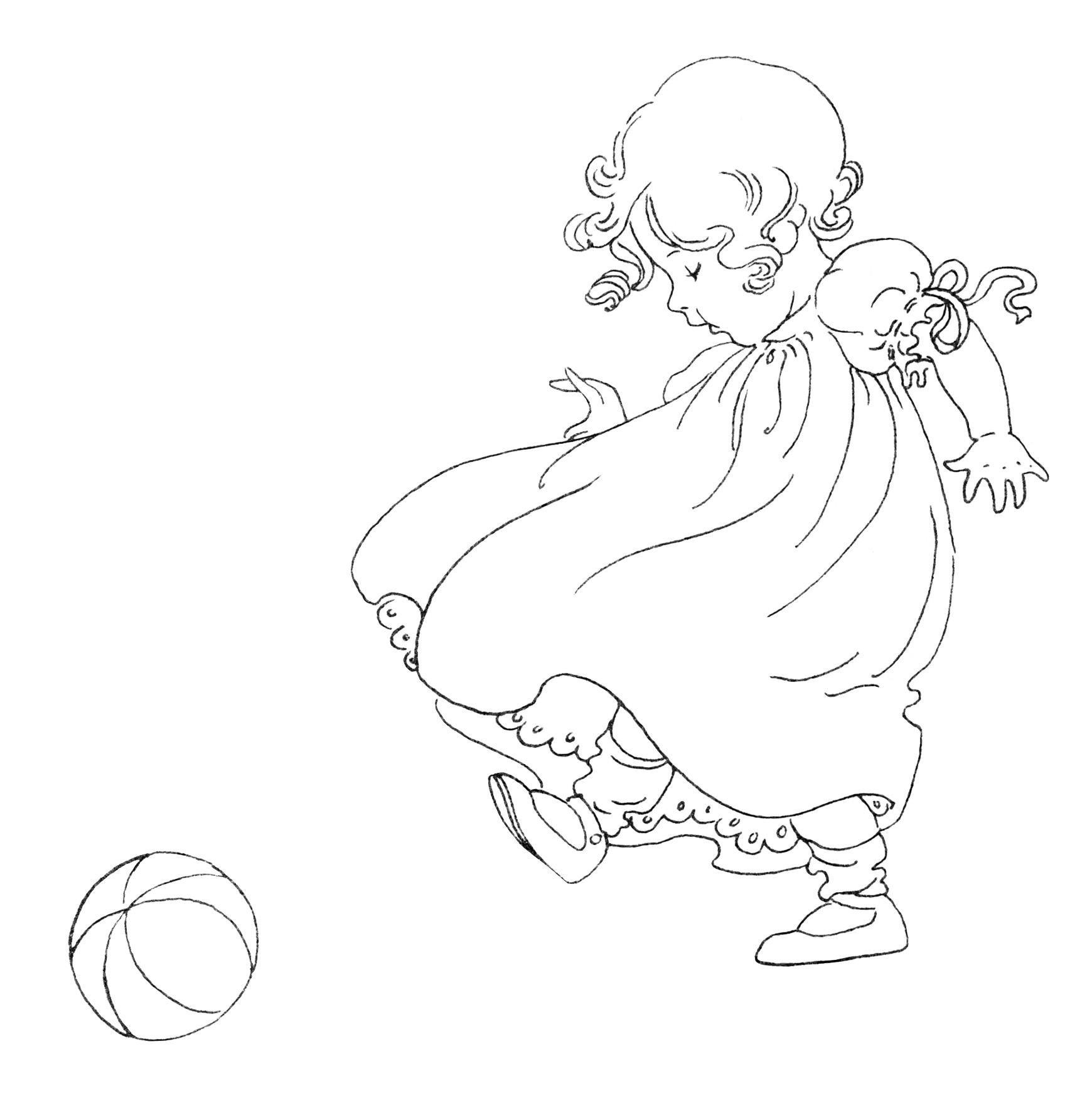 Girl Kicking Ball Vintage Baby Clip Art Black And White
