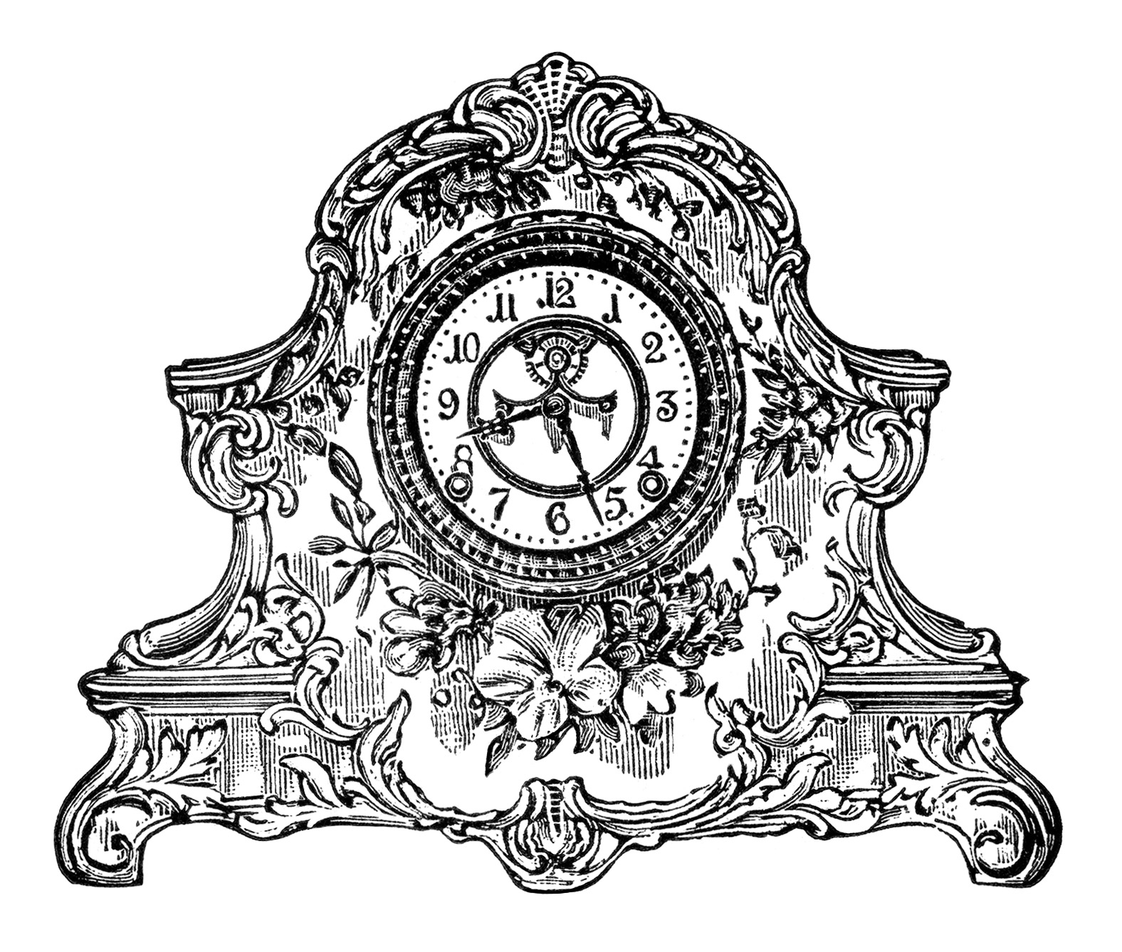 hight resolution of  vintage clock clip art black and white clipart porcelain clock image antique mantle