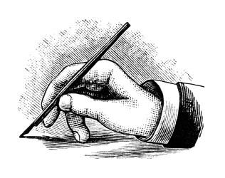 pen writing hand clip holding clipart penmanship illustration olddesignshop