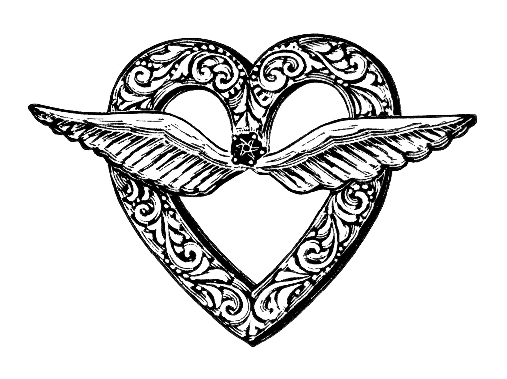 Heart Shaped Brooch Clip Art