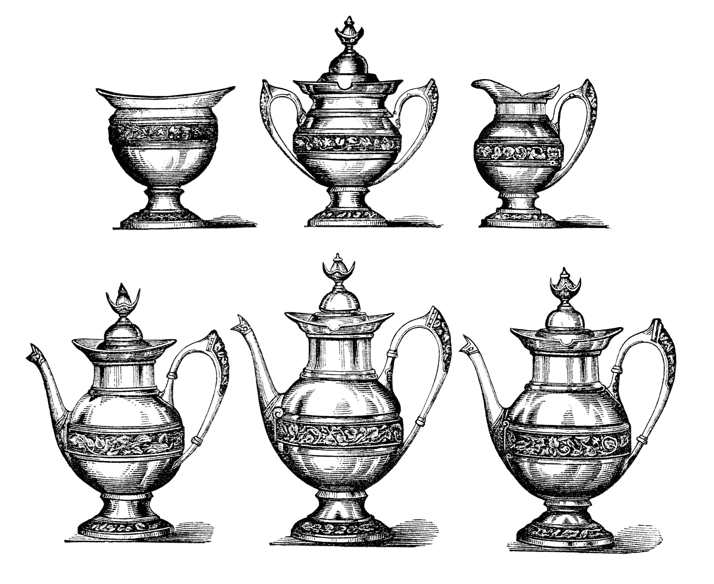 Free Vintage Image Tea Set Clip Art