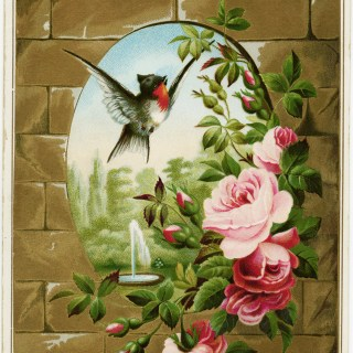 Victorian Card with Bird and Roses