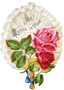 pink red rose image, victorian card, vintage clip art roses on fan, graphics free old, flowers on feather fan